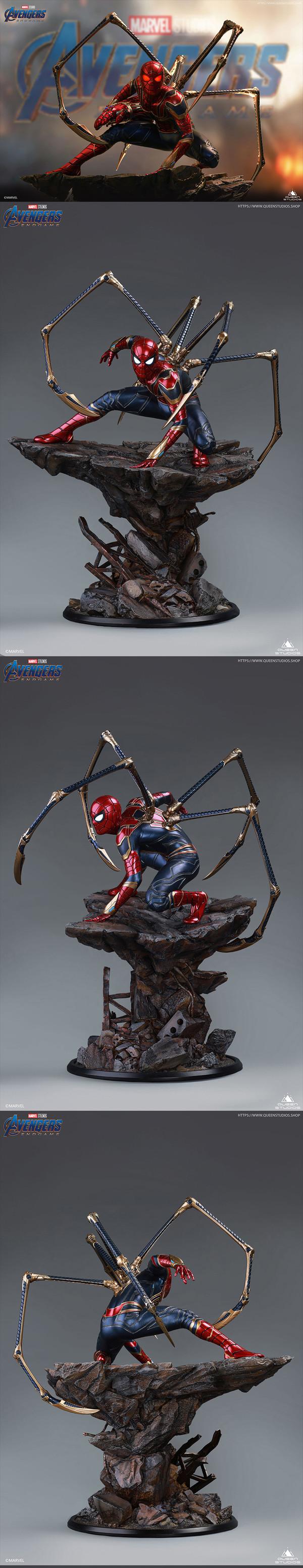 玩模总动员、新品预定:Queen Studios《复仇者联盟4》 钢铁蜘蛛侠 1/4全身像 豪华版