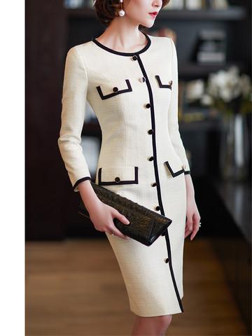 尘颜法式气质小香风长连衣裙女新款收腰中长款裙子白色F959 *2件