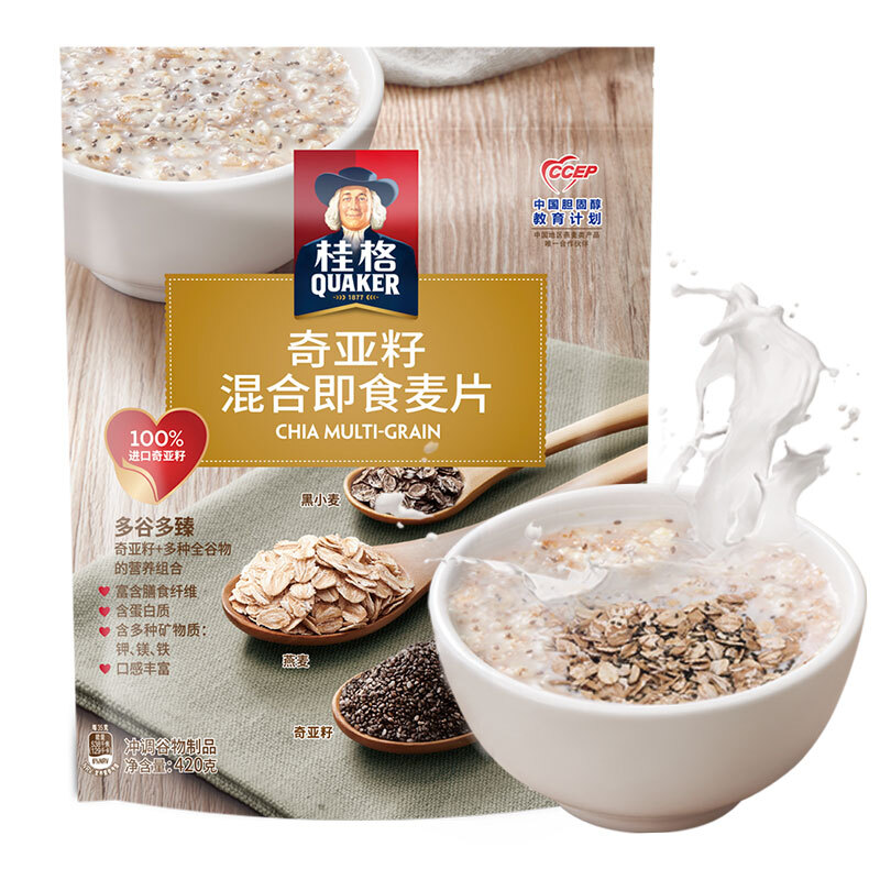 QUAKER 桂格 桂格 奇亚籽混合燕麦片420克 五谷伴侣好营养 进口原料 健身运动之选