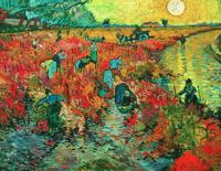 梵高名人油画《红色的葡萄园》装饰画挂画 爵士黑 56x70cm