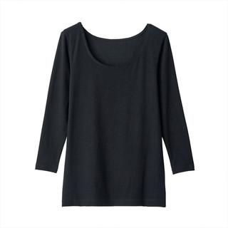 MUJI 无印良品 女士U领八分袖T恤 69AD435
