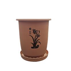 乐乐兰业 仿陶瓷棕色盆 加托盘1个