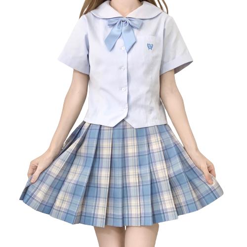 春日制服部 碎冰冰 JK制服 女士格裙 蓝色 42cm XS