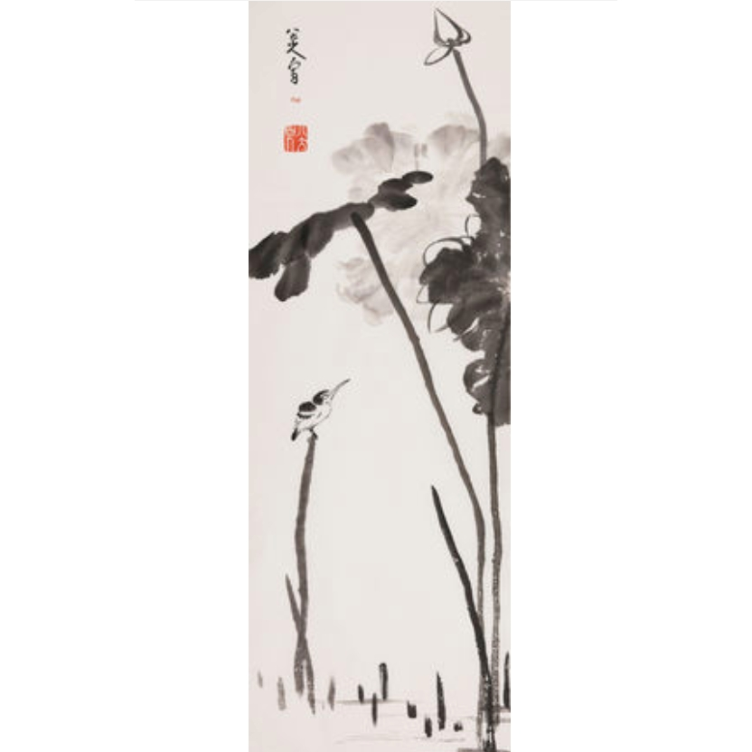 八大山人 荷花翠鸟 中国画装饰画收藏馈赠家居94x32.8cm