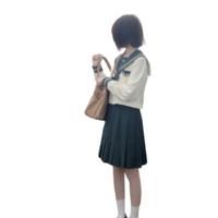 胡桃木JK 松沢高 校供感JK制服 水手服 女士中间服上衣 墨绿奶白 S