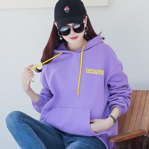 曼如芬 连帽卫衣女2021春季大码女装ins超火时尚连帽外套长袖女士上衣 ZSFMWX0040 浅紫色 M *3件