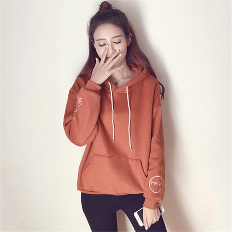 瑜珏(YuJue)加绒加厚刺绣外套女 2020秋季韩版学院风休闲套头卫衣 OMRY8133 桔色 L *3件