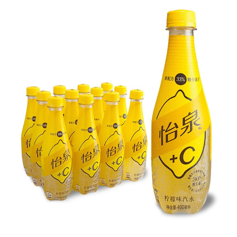 Coca-Cola 可口可乐 怡泉 Schweppes  C 柠檬味汽水 碳酸饮料 500ml/400ml*12瓶 整箱装 可口可乐公司出品 新老包装随机发货