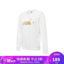 彪马 PUMA 女子 基础系列 ESS+ Metallic Logo Crew TR 针织卫衣 845593 02 白-金色 亚洲码 M 160/84A