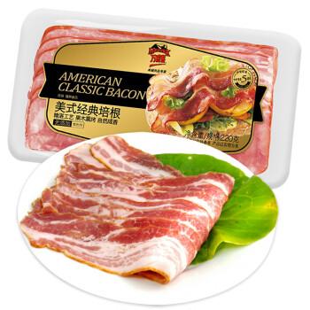 中粮 万威客 美式经典培根 220g/袋 培根 全程冷链  烧烤食材 培根肉 培根片 咸肉 *7件