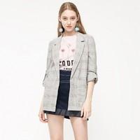 Vero Moda2019年秋季新款复古翻领格纹西装外套女|319308550