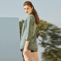 Vero Moda2019春夏新款复古翻领格纹一粒扣西装外套女 319308522