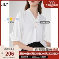 Lily2020夏季新款女装仙气灯笼袖气质白色宽松V领上衣衬衫雪纺衫