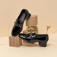 BASTO/百思图 时尚金属链条方头浅口粗跟百搭女乐福鞋