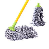 3M 思高一拖凈棉線拖布吸水拖把 家用圓頭老式傳統拖把耐磨墩布拖把頭拖把桿帶擰干桶套裝 棉線拖把一桿兩頭
