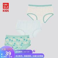 优衣库 女童短裤(3件装)(HH)flower 内裤 429373 UNIQLO
