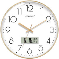 康巴絲(COMPAS)掛鐘 客廳靜音萬年歷鐘表北歐簡約石英鐘表掛墻臥室時鐘薄邊日歷掛表C3242Y 輕奢金