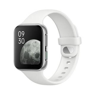 OPPO Watch eSIM智能手表 41mm 雾银 铝合金 白色橡胶表带(北斗、GPS、NFC)