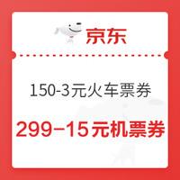 京东PLUS会员:京东 出行特权 领150-3元火车票券