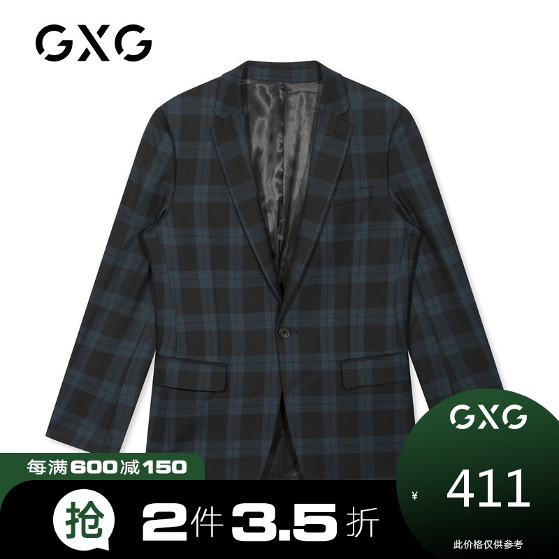 GXG男装商场同款 冬季新款时尚修身绿格西装外套男士西服