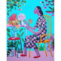 维格列艺术 Kitti Narod 布面油彩《Florist 插花师》艺术品挂画