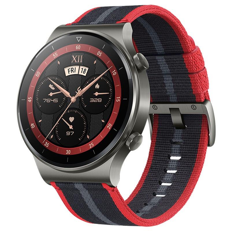 HUAWEI 华为 WATCH GT 2 Pro 智能手表 46mm 银灰色表盘 新年红尼龙表带(血氧、GPS、扬声器、温度计)