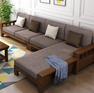联圆世家 实木沙发组合 四人位 贵妃榻 茶几 胡桃色