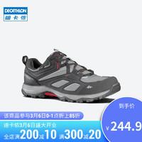 迪卡侬 官网登山鞋男防水防滑透气户外运动鞋女徒步鞋子QUS 男款-黑灰色 43