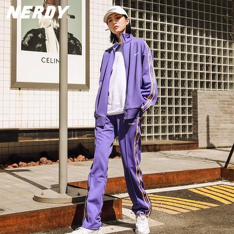 NERDY正品明星同款春款紫色女外套情侣男运动套装休闲潮裤运动服 *2件