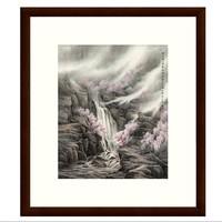 古典风景国画水墨画《桃花枝上》董希源茶褐色 54×61cm