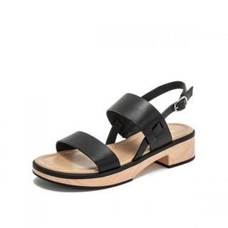 BASTO 百思图 RMDRVI01DU1BL9 女士牛皮革休闲凉鞋