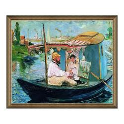 马奈名人油画《船上画室中的莫奈》 典雅栗 88×105cm