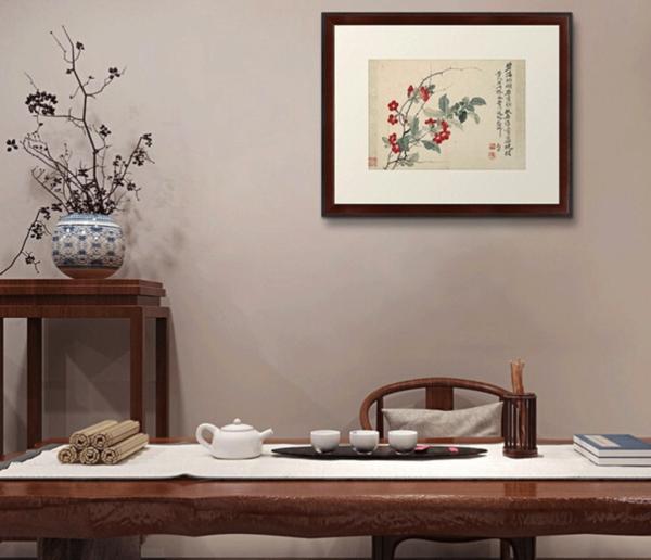 国画水墨画《扶桑图》装饰画挂画 背景墙 茶褐色 59×48cm