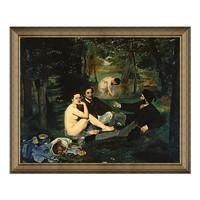 现代简约马奈名人油画《草地上的午餐》典雅栗 85×69cm