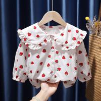 童装新款女童小清新印花娃娃领甜美衬衫公主风衬衣美腻