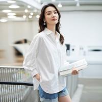 真维斯纯棉长袖白衬衫女装21春季新款韩版宽松显瘦休闲简约衬衣