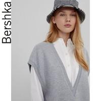Bershka女士 2021春季新款灰色针织布V领背心连衣裙 07048296812