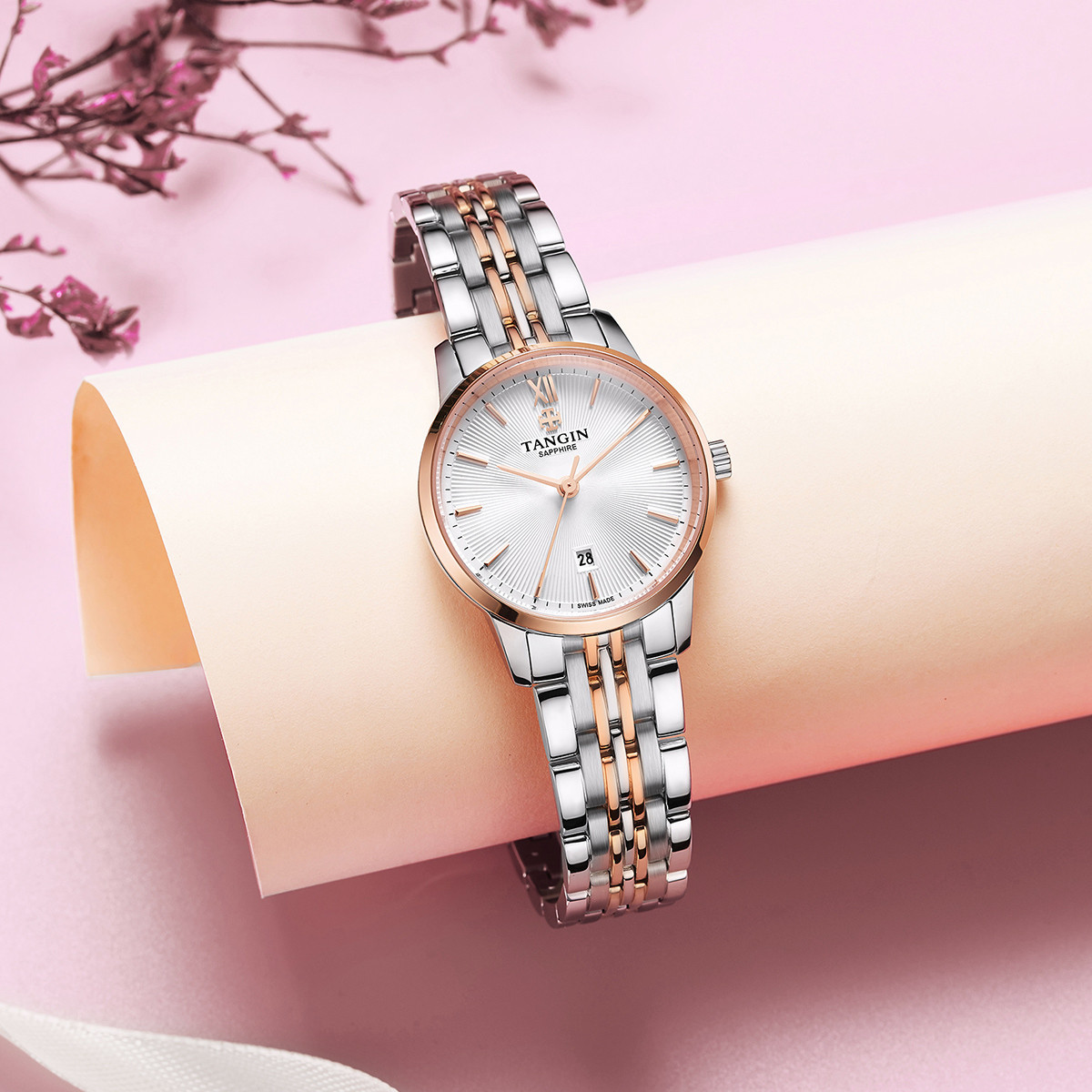 TANGIN 天珺 T1062LHWFBA 女士石英手表
