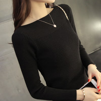 AUDDE 2021春季针织衫女修身女装一字领针织衫韩版紧身长袖打底衫短款套头毛衣女 zx1AF02-216 黑色 S *3件