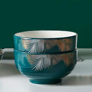 白嘉伊 色釉陶瓷碗 4.5英寸 2个装 送2双筷子