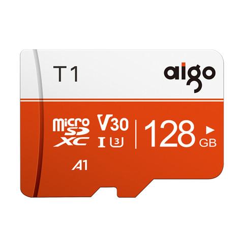 爱国者(aigo)128GB TF(MicroSD)存储卡 U3 A1 V30 4K T1高速内存卡 读速97MB/s 适用手机行车记录仪监控