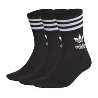 adidas阿迪达斯三叶草运动袜中筒袜男女潮流长袜黑白条纹高筒袜 *2件