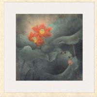 荷花系列一國畫三聯 走廊畫廊茶屋背景墻裝飾畫掛畫 67×67cm