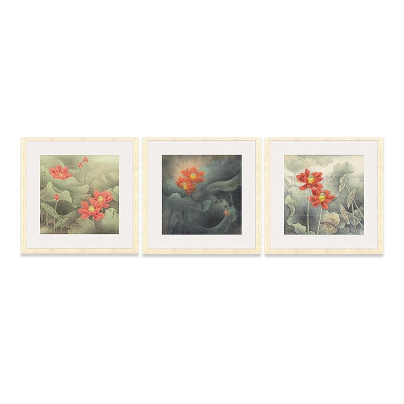 荷花系列一国画三联 走廊画廊茶屋背景墙装饰画挂画 67×67cm