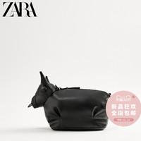 ZARA新款 男包 黑色动物形复古休闲迷你腰包斜挎包 13511720040