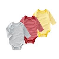 minizone男女宝宝婴儿新生儿春秋季款纯棉三角长袖连体哈爬服衣服打底衣包屁衣0-2岁