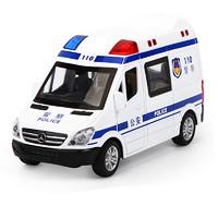 知识花园  儿童玩具车 仿真合金汽车玩具声光回力汽车模型警车救护车消防车玩具男孩1-3-6岁 110合金车1:36
