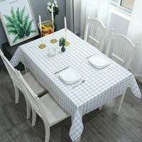 桌布布料防水防油免洗pvc茶幾布藝北歐現代簡約格子印花桌墊布