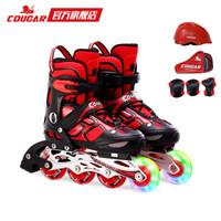 美洲獅溜冰鞋兒童閃光輪滑鞋男女滑冰旱冰鞋全套裝 歐盟品質 黑紅套裝 M *3件