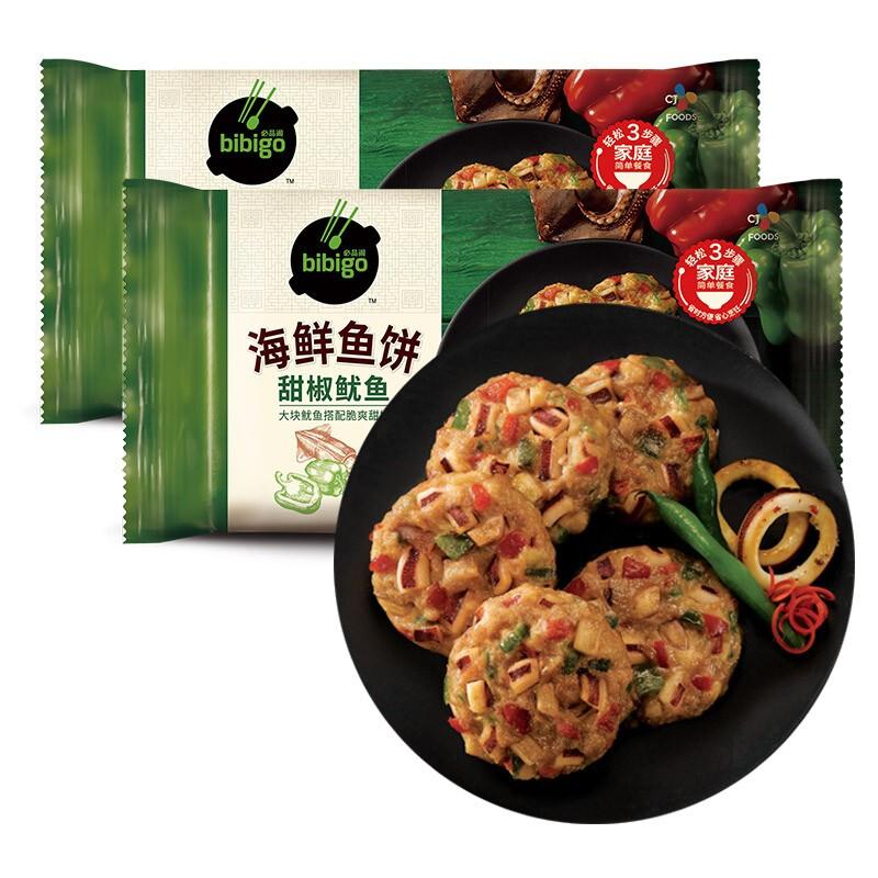 bibigo 必品阁 甜椒鱿鱼海鲜鱼饼 240g*2袋 *7件
